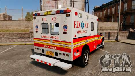 Ford F-350 2013 FDNY Ambulance [ELS] pour GTA 4 Vue arrière de la gauche