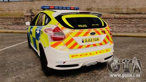 Ford Focus 2013 Uk Police [ELS] pour GTA 4 Vue arrière de la gauche