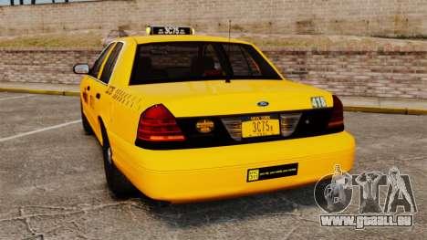 Ford Crown Victoria 1999 NYC Taxi für GTA 4 hinten links Ansicht