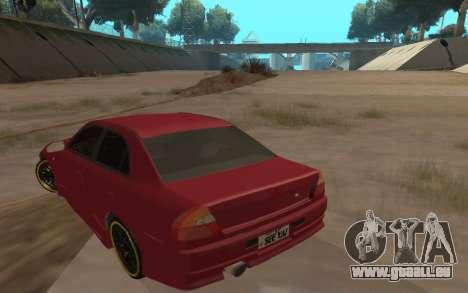 Mitsubishi Lancer Evolution VI für GTA San Andreas zurück linke Ansicht