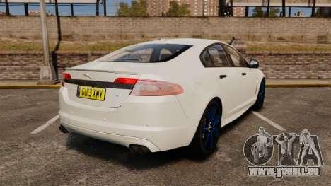 Jaguar XFR 2010 Police Unmarked [ELS] pour GTA 4 Vue arrière de la gauche
