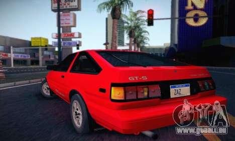 Toyota Corolla GT-S 1985 pour GTA San Andreas sur la vue arrière gauche