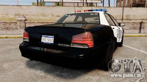 GTA V Vapid Steelport Police Cruiser [ELS] pour GTA 4 Vue arrière de la gauche