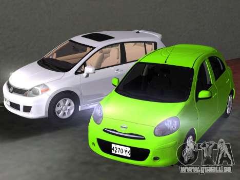 Nissan Tiida für GTA Vice City Ansicht von unten