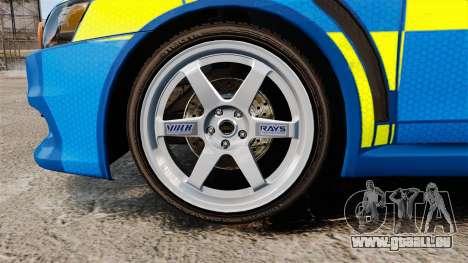 Mitsubishi Lancer Evo X Humberside Police [ELS] pour GTA 4 Vue arrière