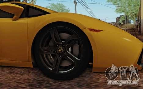 Lamborghini Gallardo SE pour GTA San Andreas sur la vue arrière gauche