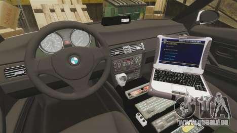 BMW 330i Metropolitan Police [ELS] pour GTA 4 Vue arrière