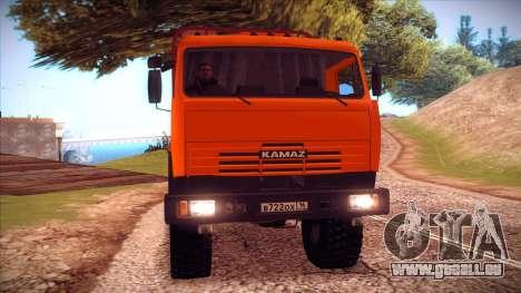 Transporteur de bois 54115 KAMAZ pour GTA San Andreas laissé vue