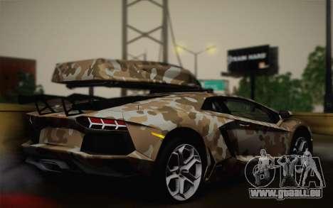 Lamborghini Aventador LP 700-4 Camouflage pour GTA San Andreas laissé vue