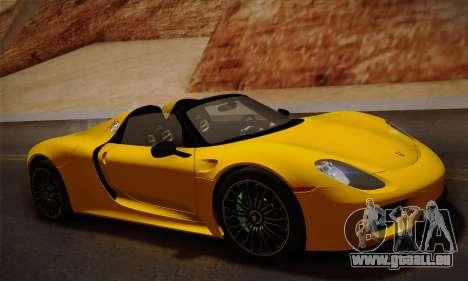 Porsche 918 Spyder 2014 pour GTA San Andreas laissé vue