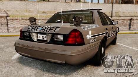 Ford Crown Victoria 2008 Sheriff Traffic [ELS] pour GTA 4 Vue arrière de la gauche