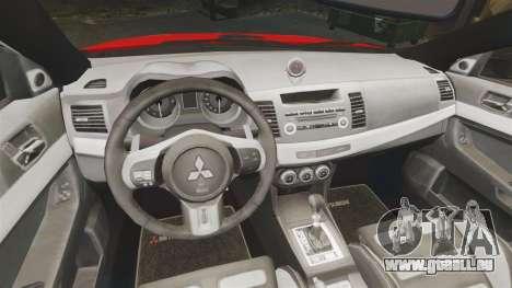 Mitsubishi Lancer Evo X Fire Department [ELS] pour GTA 4 est une vue de l'intérieur