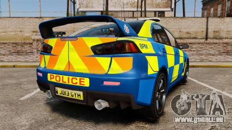 Mitsubishi Lancer Evo X Humberside Police [ELS] pour GTA 4 Vue arrière de la gauche