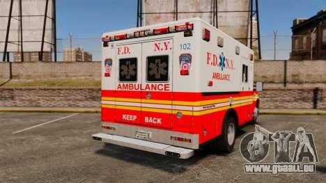 Ford F-350 FDNY Ambulance [ELS] pour GTA 4 Vue arrière de la gauche