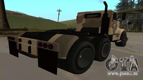 GTA V Barracks Semi für GTA San Andreas zurück linke Ansicht