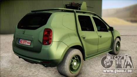 Dacia Duster Army Skin 1 pour GTA San Andreas laissé vue