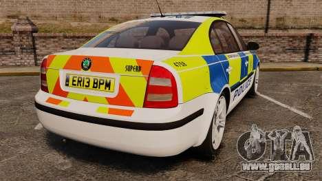Skoda Superb 2006 Police [ELS] Whelen Justice für GTA 4 hinten links Ansicht