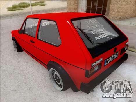 Volkswagen Golf GTI MK1 für GTA San Andreas zurück linke Ansicht