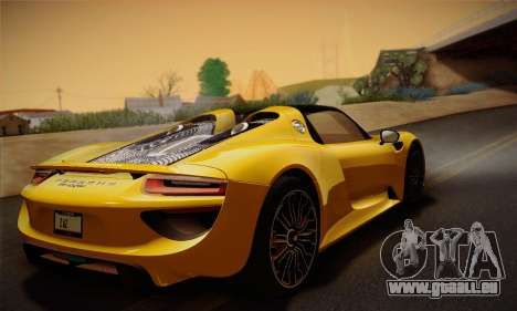 Porsche 918 Spyder 2014 für GTA San Andreas Unteransicht