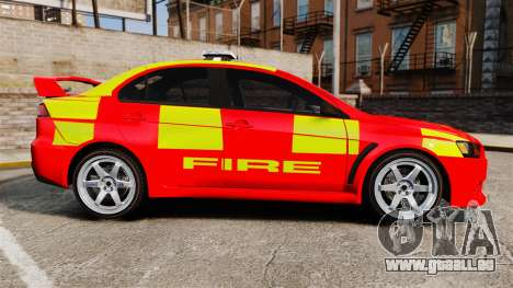 Mitsubishi Lancer Evo X Fire Department [ELS] für GTA 4 linke Ansicht