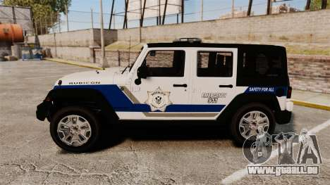 Jeep Wrangler Rubicon Police 2013 [ELS] pour GTA 4 est une gauche