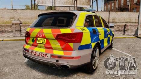 Audi Q7 Metropolitan Police [ELS] pour GTA 4 Vue arrière de la gauche