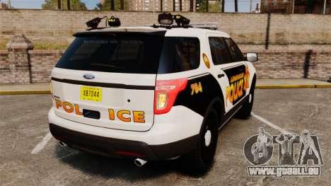 Ford Explorer 2013 Longwood Police [ELS] pour GTA 4 Vue arrière de la gauche