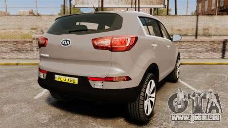 Kia Sportage Unmarked Police [ELS] pour GTA 4 Vue arrière de la gauche