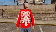 Chandail rouge-squelette -
