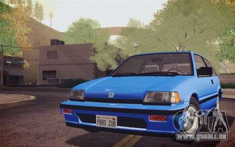 Honda Civic S 1986 IVF pour GTA San Andreas sur la vue arrière gauche