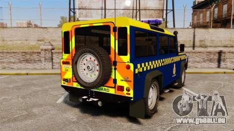 Land Rover Defender HM Coastguard [ELS] pour GTA 4 Vue arrière de la gauche