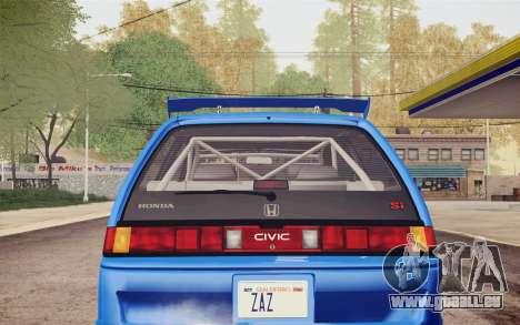 Honda Civic S 1986 IVF pour GTA San Andreas vue de dessus