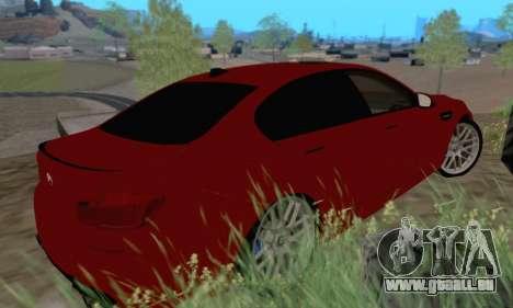 BMW M5 F10 v1.1 pour GTA San Andreas sur la vue arrière gauche