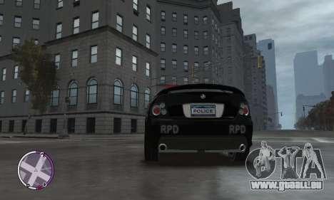 Holden Monaro CV8-R Police pour GTA 4 est une vue de l'intérieur
