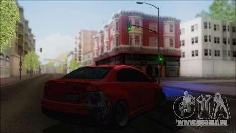 Mitsubishi Lancer X pour GTA San Andreas sur la vue arrière gauche
