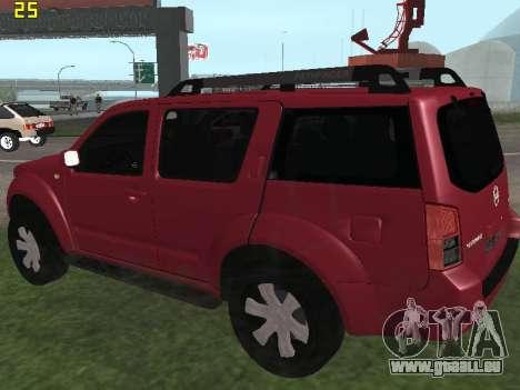 Nissan Pathfinder pour GTA San Andreas sur la vue arrière gauche