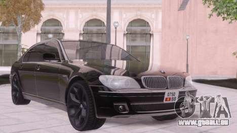 BMW 750Li E66 für GTA San Andreas Innenansicht