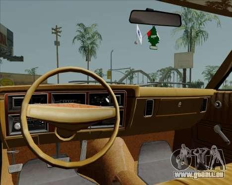 Dodge Aspen pour GTA San Andreas vue intérieure