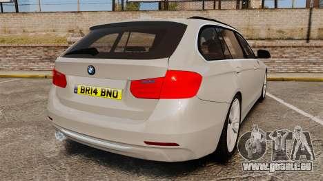 BMW 330d Touring (F31) 2014 Unmarked Police ELS für GTA 4 hinten links Ansicht