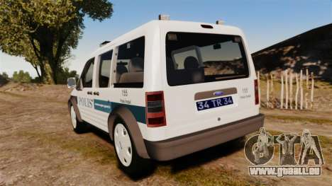 Ford Transit Connect Turkish Police [ELS] v2.0 pour GTA 4 Vue arrière de la gauche