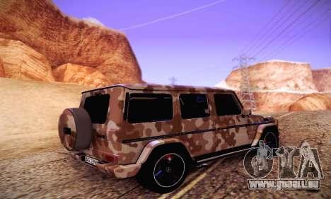 Mercedes Benz G65 Army Style pour GTA San Andreas sur la vue arrière gauche
