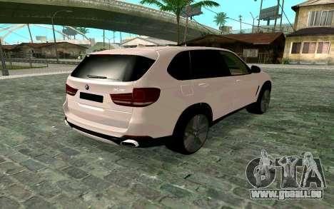 BMW X5 F15 pour GTA San Andreas laissé vue