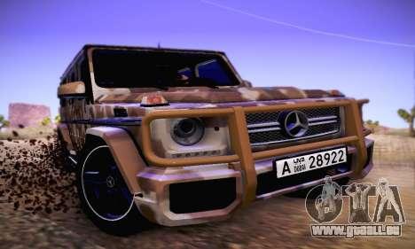 Mercedes Benz G65 Army Style pour GTA San Andreas laissé vue