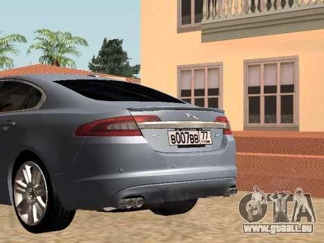Jaguar XFR 2010 pour GTA San Andreas sur la vue arrière gauche