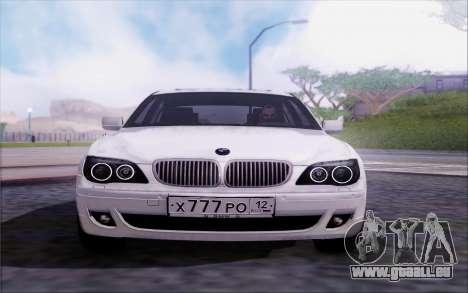 BMW 760Li E66 pour GTA San Andreas vue arrière