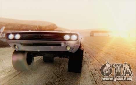 Dodge Challenger 1971 Aftermix pour GTA San Andreas sur la vue arrière gauche