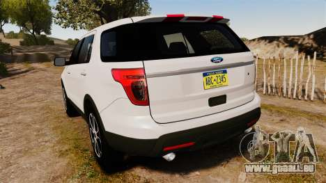 Ford Explorer Sport 2014 pour GTA 4 Vue arrière de la gauche