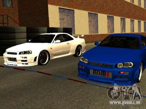 Nissan Skyline R34 GT-R pour GTA San Andreas vue intérieure
