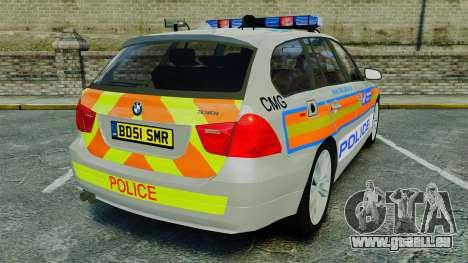 BMW 330i Touring Metropolitan Police [ELS] für GTA 4 hinten links Ansicht