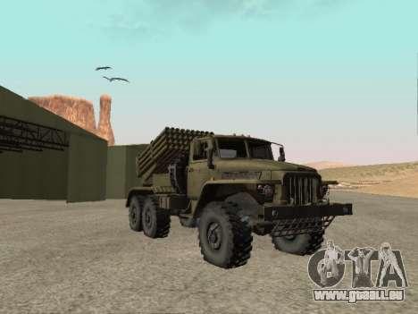 Ural 375 BM-21 für GTA San Andreas zurück linke Ansicht